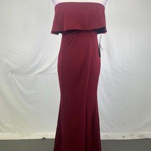 Lulu's Strapless Maxi Gown With Slit Dress